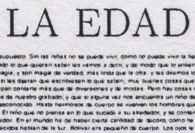 Close up of a print-out of La Edad de Oro in one page