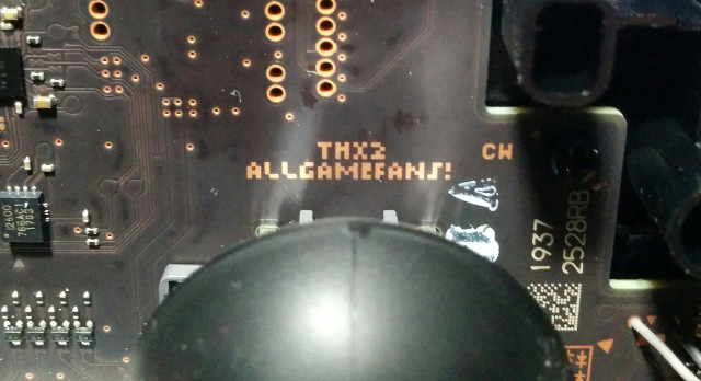 Switch Pro Controller PCB contains the message THX2 ALLGAMEFANS!